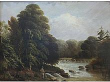 19th Century English School A FIGURE FISHING FOR SALMON WITH WOODLAND BEHIND Unsigned oil on board,