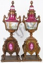 PAIR OF SEVRES FRENCH PORCELAIN MOUNTED URNS