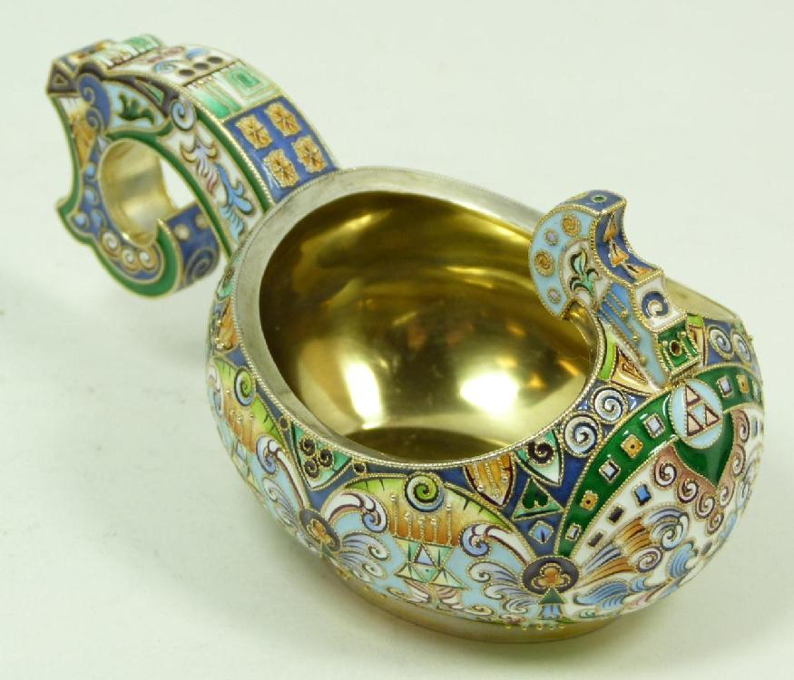RUSSIAN STERLING SILVER ENAMELED KOVSH