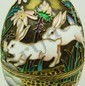 RUSSIAN SILVER ENAMELED RABBITS EGG BOX