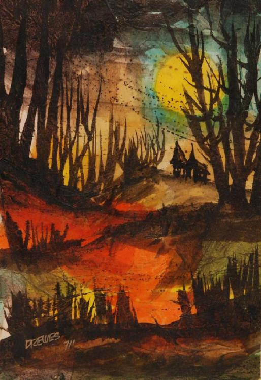 WERNER DREWES WATERCOLOR ON PAPER OF FOREST SCENE