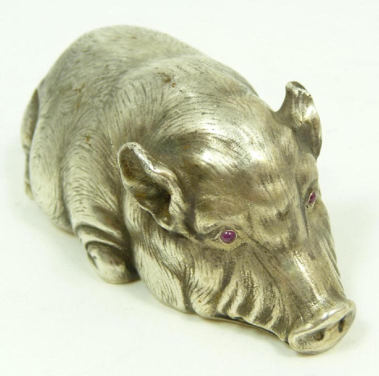 RUSSIAN SILVER JEWELED HOG FIGURE
