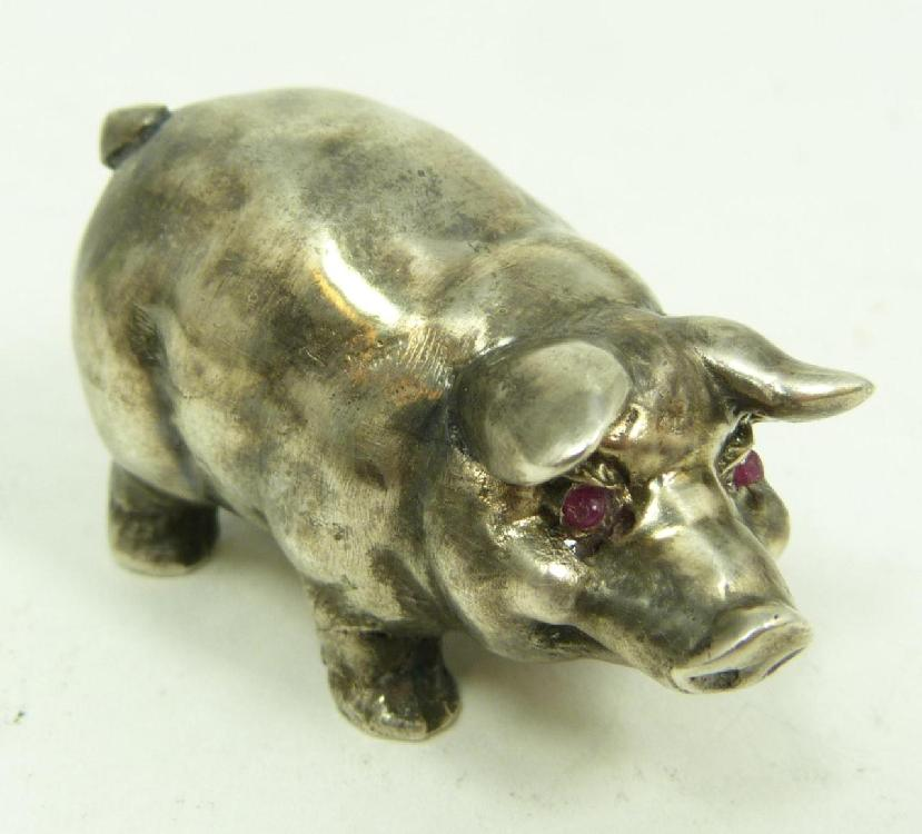 RUSSIAN SILVER JEWELED PIG FIGURE