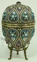 RUSSIAN SILVER ENAMELED TEAR DROP EGG