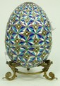 RUSSIAN SILVER ENAMELED FLORAL EGG