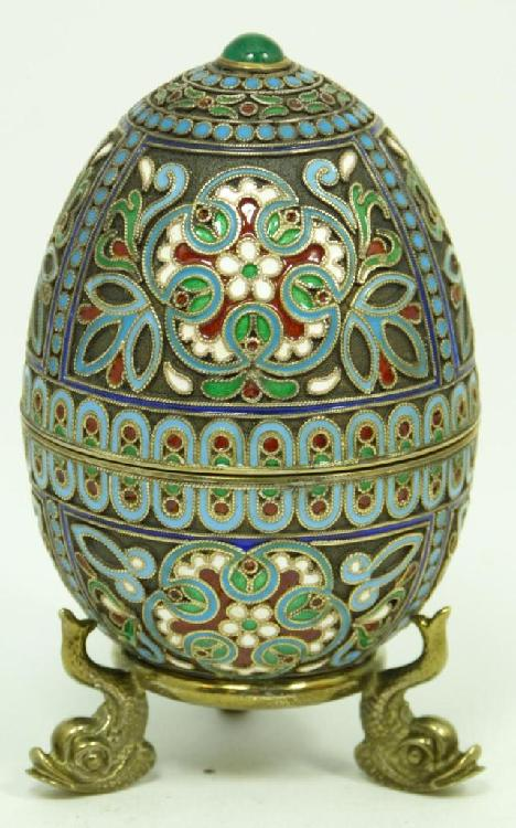 RUSSIAN SILVER ENAMELED JEWELED EGG BOX