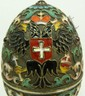 RUSSIAN SILVER FIGURAL JEWELED FOOTED EGG BOX