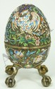 RUSSIAN SILVER ENAMELED FOOTED EAGLE EGG BOX