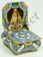 RUSSIAN SILVER ENAMELED FIGURAL CHAIR BOX