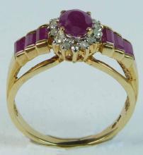 10K YELLOW GOLD LADIES DIAMOND & RUBY RING