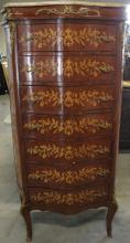 TALL MARQUETRY MARBLE TOP CHEST OF DRAWERS