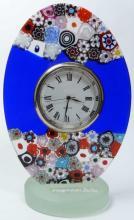 MILLEFIORI ART GLASS FFLORAL DESK CLOCK