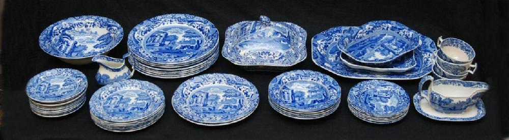 49pc COPELAND SPODE ITALIAN BLUE & WHITE CHINA SET