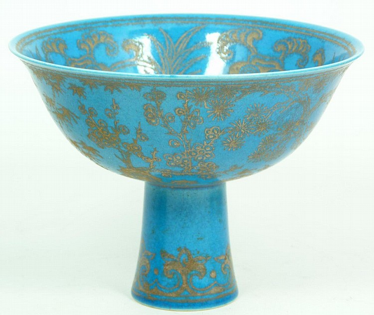 CHINESE TURQUOISE GLAZE PORCELAIN STEM CUP