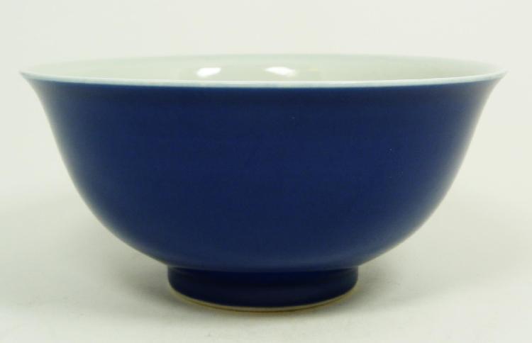 19th C. CHINESE BLUE GLAZED PORCELAIN BOWL