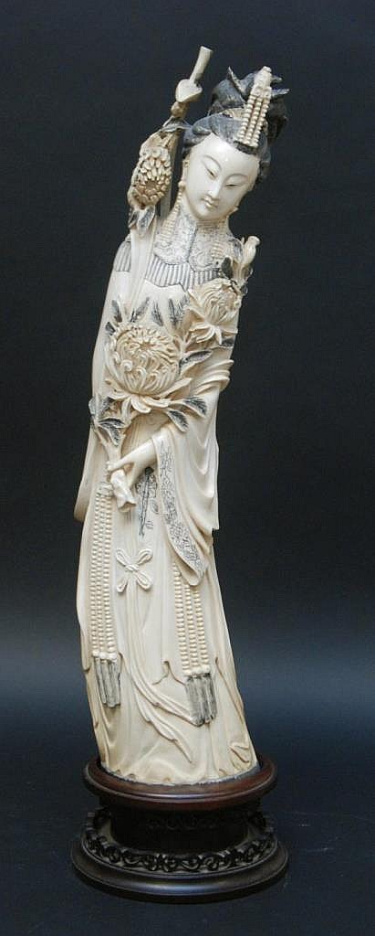 CHINESE CARVED AFRICAN IVORY QUAN YIN SCULPTURE