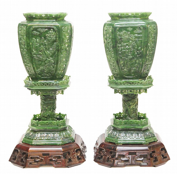 PAIR OF LARGE SPINACH JADE LANTERN URNS