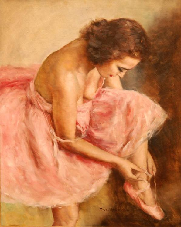 PAUL GERARD OIL PAINTING ON CANVAS BALLERINA