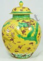 18th C CHINESE YELLOW GROUND & GREEN DRAGON JAR