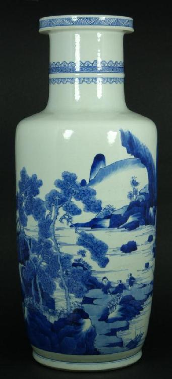 17th/18th C CHINESE BLUE WHITE VILLAGE SCENE VASE