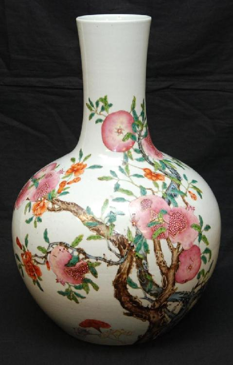 CHINESE FAMILLE ROSE QIAN QIU BOTTLE VASE