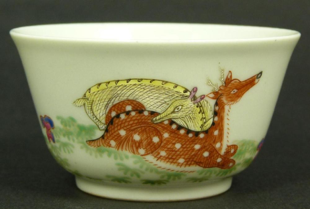 18th CENTURY CHINESE FAMILLE ROSE TEA CUP