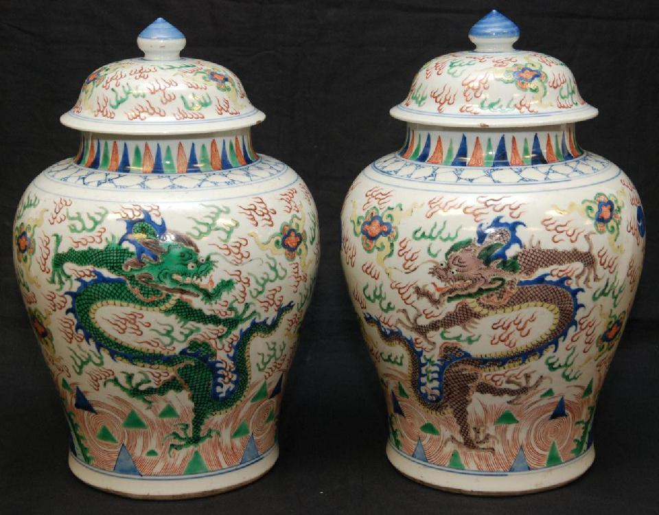 PAIR OF 18th C FAMILLE VERTE WUCAI BALUSTER VASES