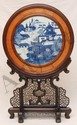 18th C CHINESE BLUE & WHITE PLAQUE WITH STAND