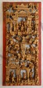 CHINESE GILT WOOD RELIEF VILLAGE SCENE PLAQUE