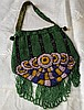 Victorian Beaded Handbag/Green Stripe