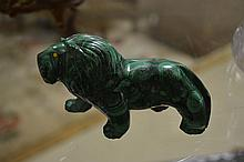 Carved Malachite Lion
