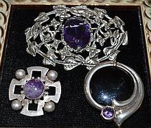 3 Pc. Sterling Silver Amethyst Pins