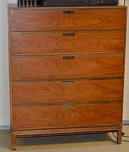 5 Drawer Walnut Tall Champagne Style Mid Century Chest