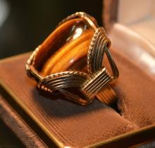 Gold Man's Tiger Eye Ring