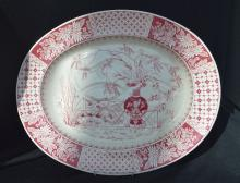 Copeland Ironstone Red & White Transfer Platter