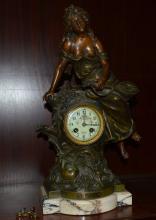 Krantz Mantle Clock w/Maiden Sculpture Signed