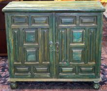 Green Painted Two Door Paneled Cabinet