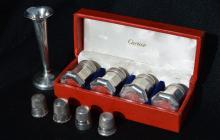 Set 4 Cartier Sterling Silver Salts & /Sterling Bud Vase