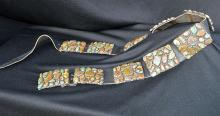 Navajo Silver & Turquoise Belt Signed