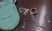 Tiffany Sterling Star Fish Pendant/Earrings/Band