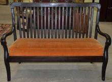 Mahogany Slat Back Settee w/ Rust Cushion