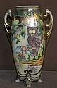 Nippon Vase w/ Enamel Owl Detail