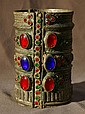 Bedouin Bracelet w/Red & Blue Cabochon Inlay