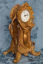 Spelter Art Nouveau New Haven Mantle Clock