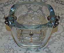 Crystal & Sterling Ice Bucket w/Tiffany Leaf Salt