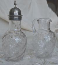 2 Pc. Etched Crystal Shaker & Pitcher