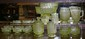 Lot 17 3 Panel Depression Vaseline Glass /Compote
