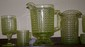 Lot 16 3 Panel Depression Vaseline Glass /Pitcher