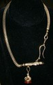 Men's Watch Chain w/14 Kt YG Whistle/Dog Fob