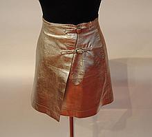 PACO RABANNE - jupe portefeuille argenté, doublé de satin. Taille 36, très bel é